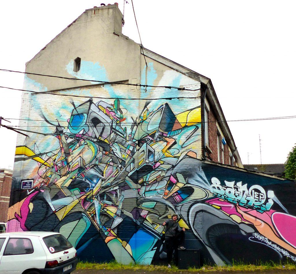 fresque murale pour la biam 2 lille nadib bandi graffiti mural. Black Bedroom Furniture Sets. Home Design Ideas
