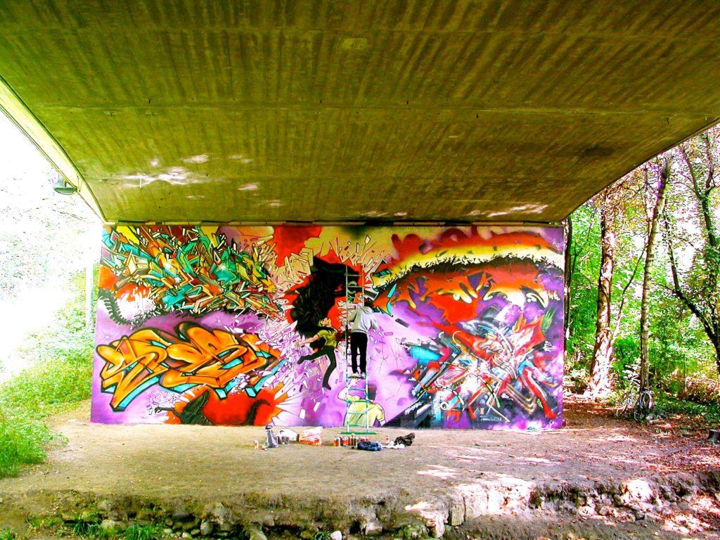 Bandi Alien Graffiti Mural Deter Spasm Rezine Sumo Genève EP