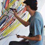 Nadib Bandi in action Dubai Street Art Gallery