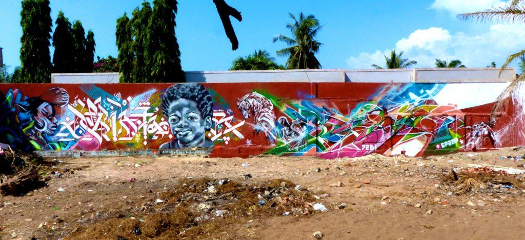 Graffiti à Lomé au Togo Stone Bandi, Seika, SMI, HMI et Dema.