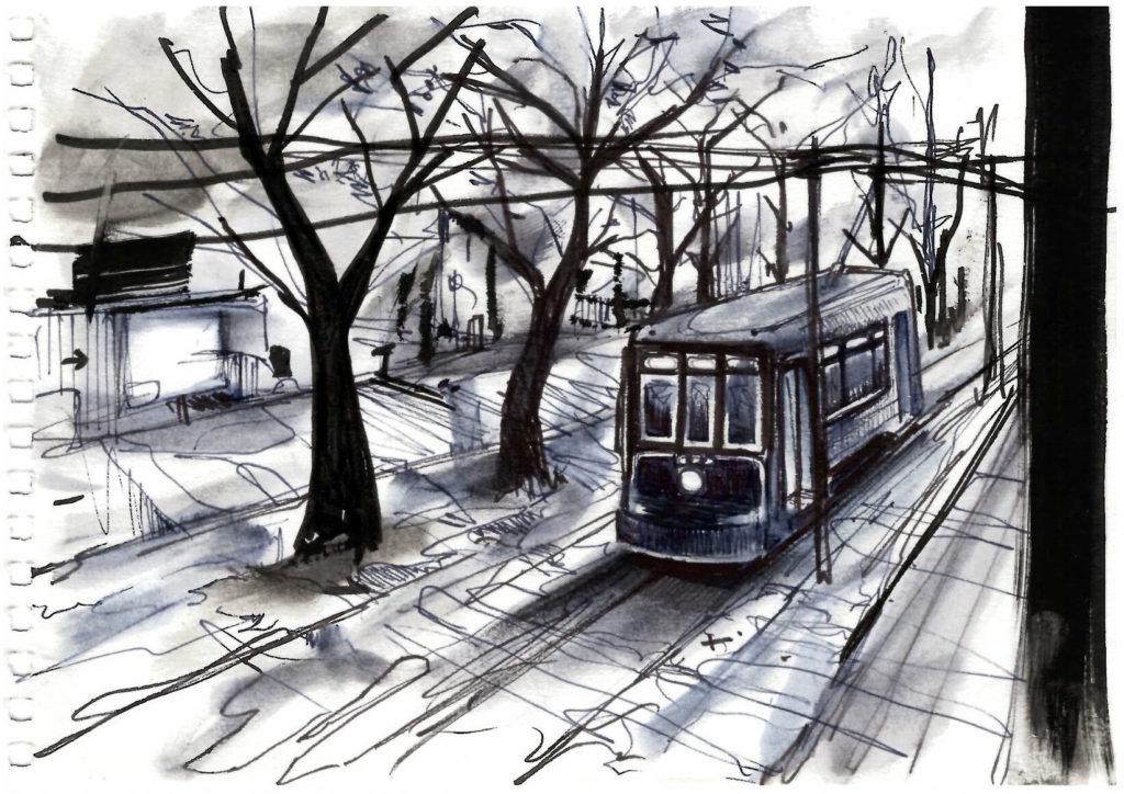 Dessin du vieux tramway de la Nouvelle-Orléans