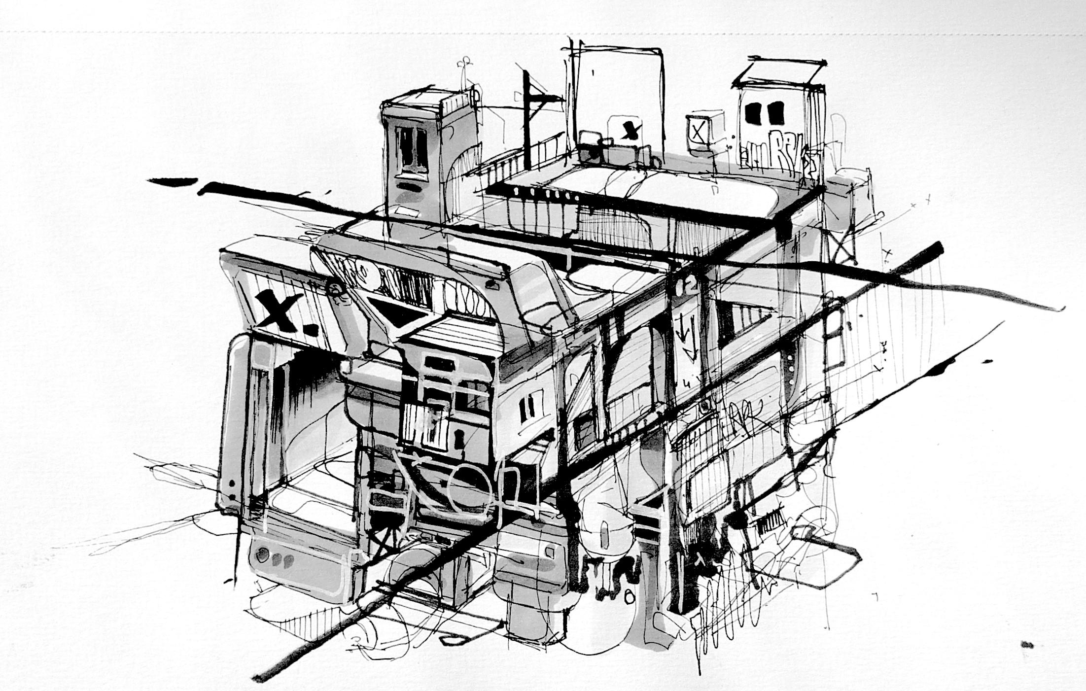 Dessin cube architecture futuriste nadib bandi dessin sketch for Dessin architecture