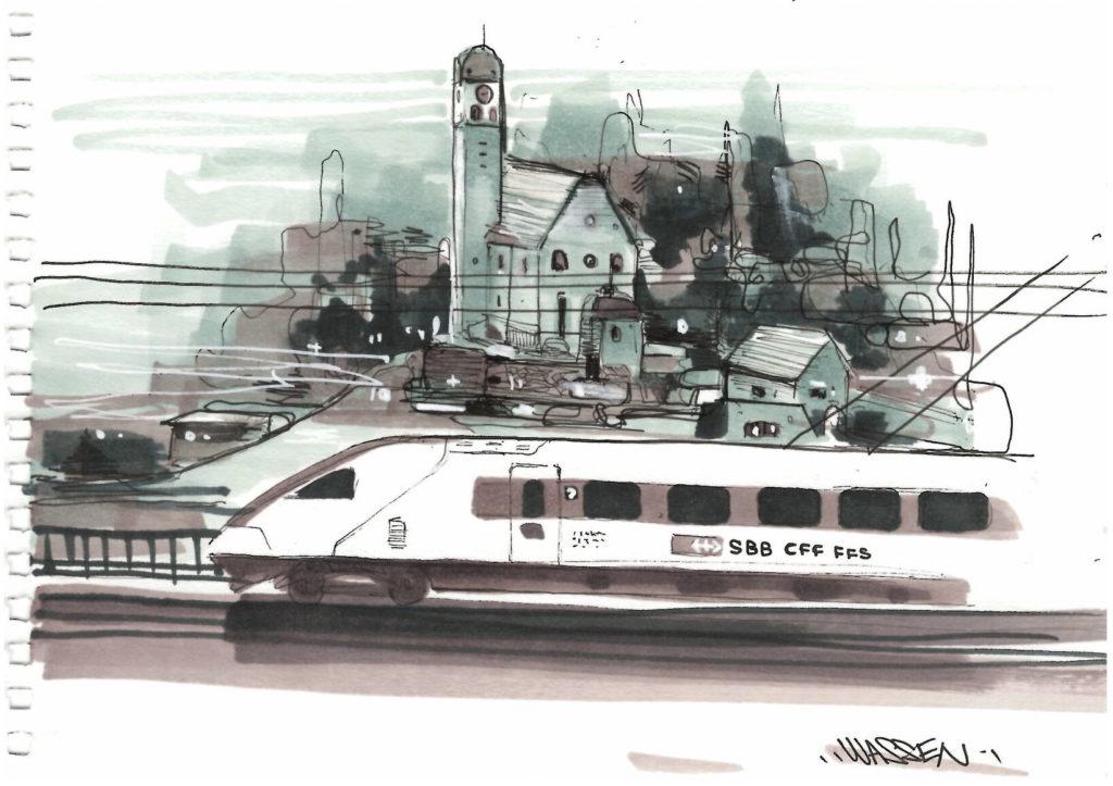 Dessin de train suisse