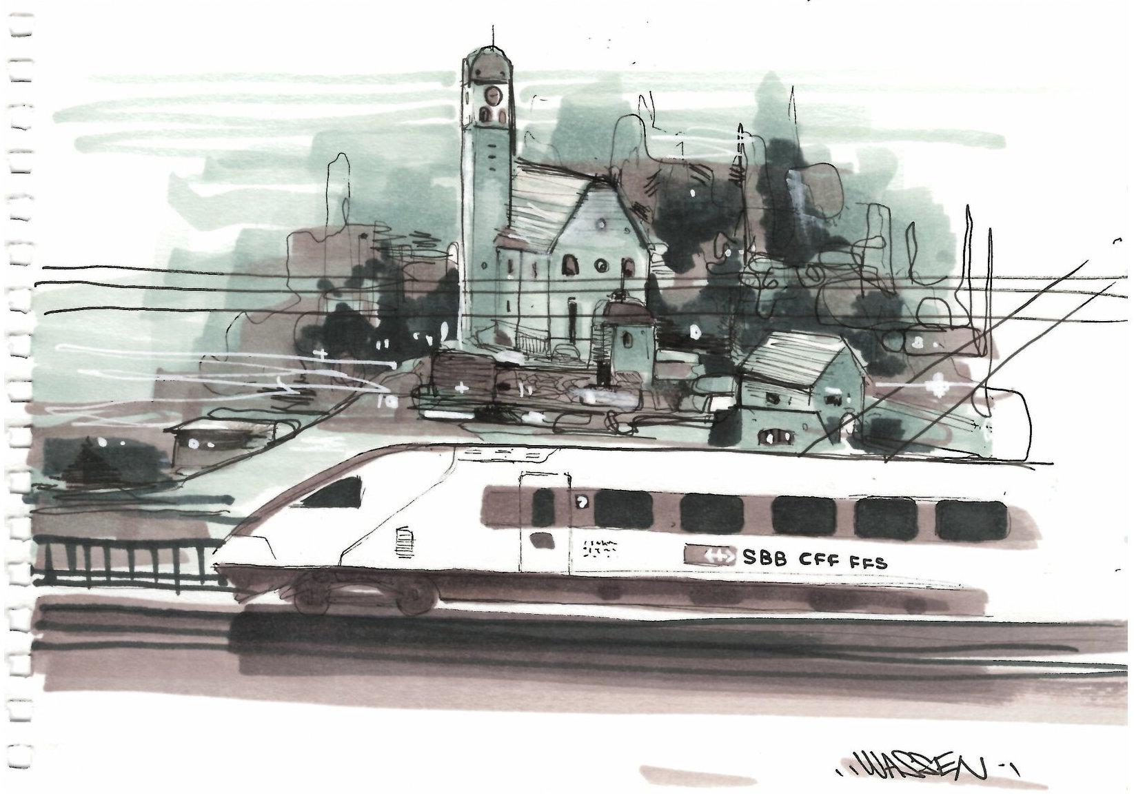 Dessin De Train Suisse Rabde500 A Wassen Nadib Bandi Dessin Sketch