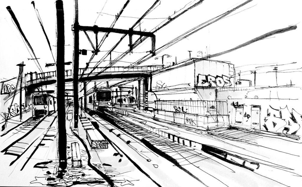 Dessin gare des Ardoines à Vitry-sur-Seine-sur-Seine.