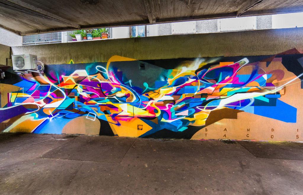 Graffiti Futuriste Abstrait Tacos et Bandi Vitry-sur-Seine