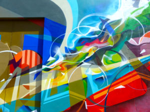 Another detail of the abstract graffiti fresco.