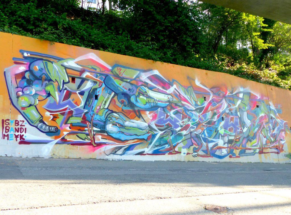 Graffiti à Lausanne Meyk , Sybz et Bandi