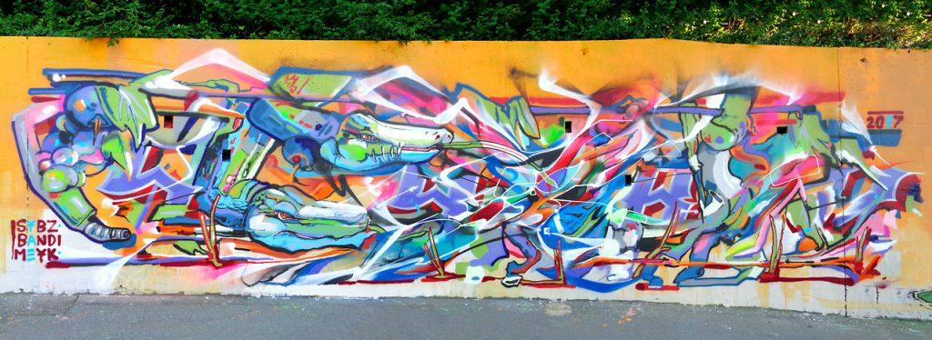 Graffiti à Lausanne Bandi, Meyk et Sybz 2017