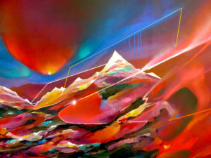 Paysage peinture montagne détail