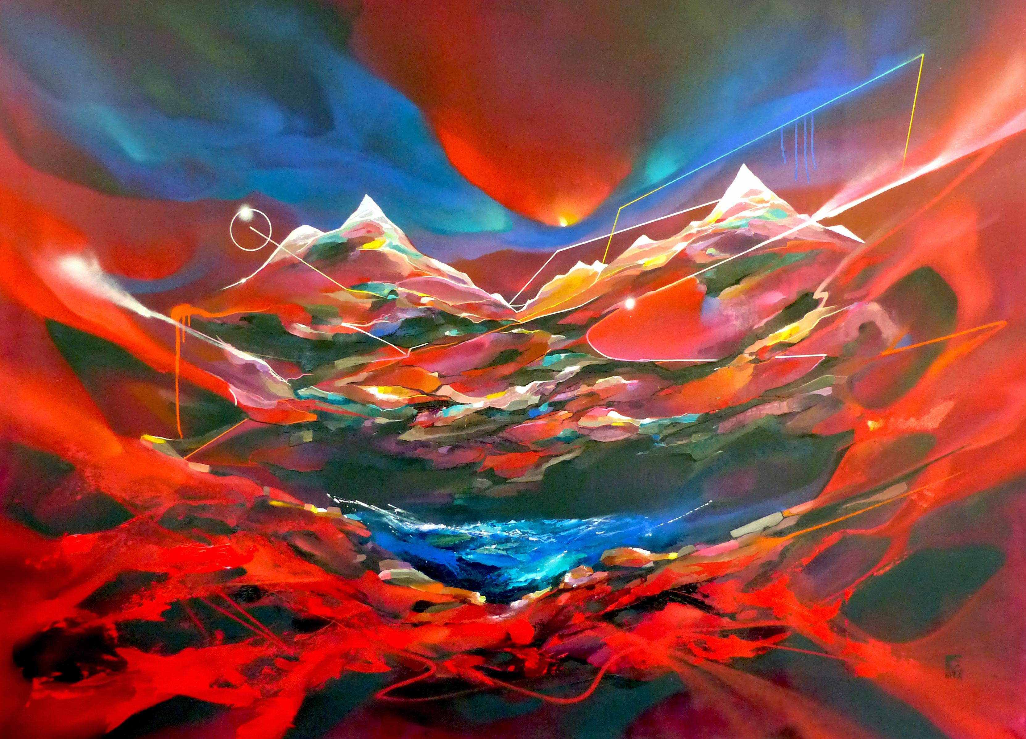 Peinture de paysage alpin - Montagnes 617.1 - Nadib Bandi Art Peintures