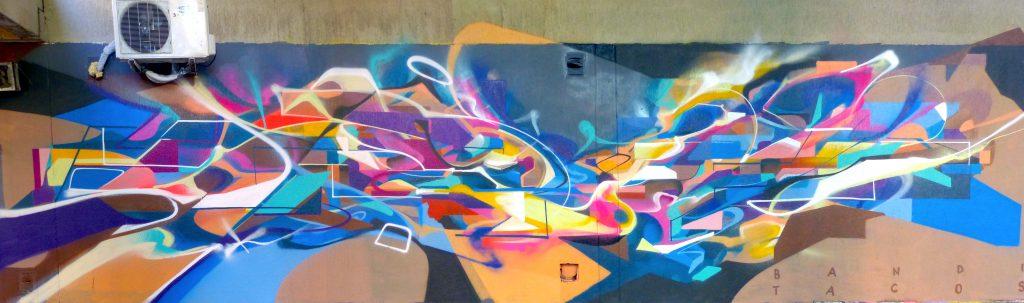 Graffiti futuriste abstrait Bandi Tacos Vitry Graffiti 2017