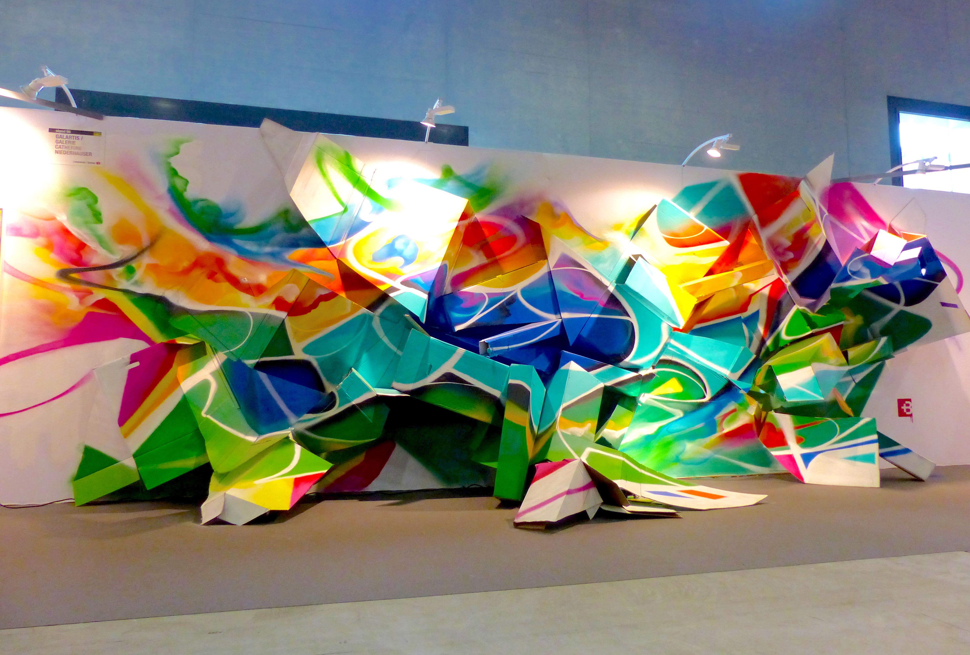 3d graffiti installation in lausanne art fair