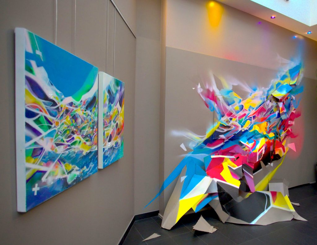 Installation sculpture graffiti abstrait Nadib Bandi Hotel Windsor.