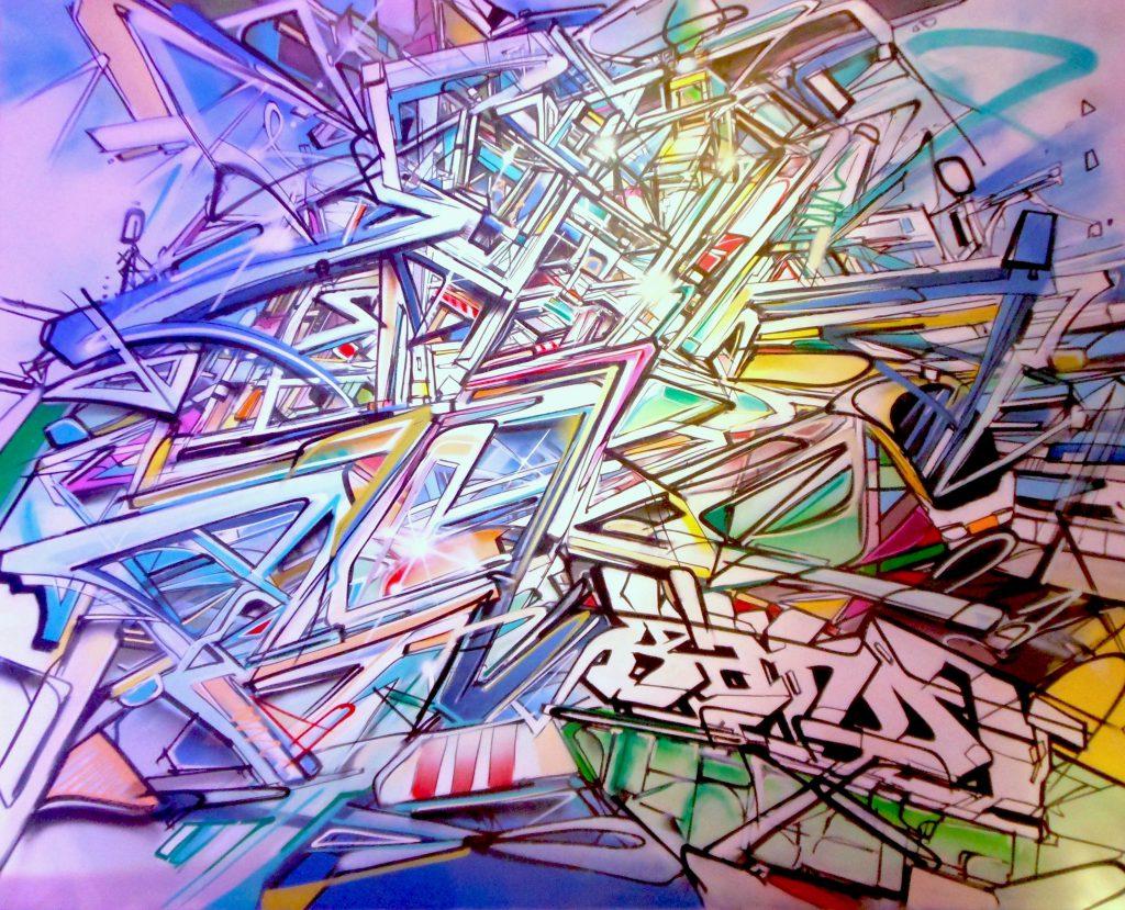 abstraction ferroviaire Night-Train Nadib Bandi Peinture Toile