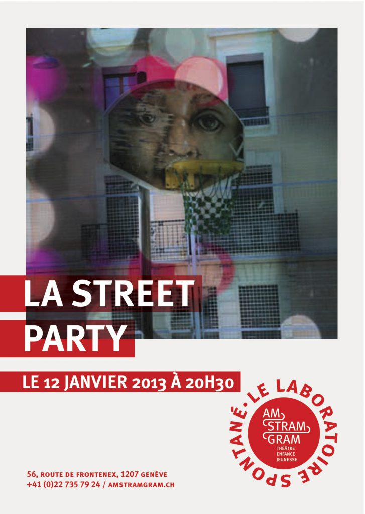 theatre amstramgram street party flyer