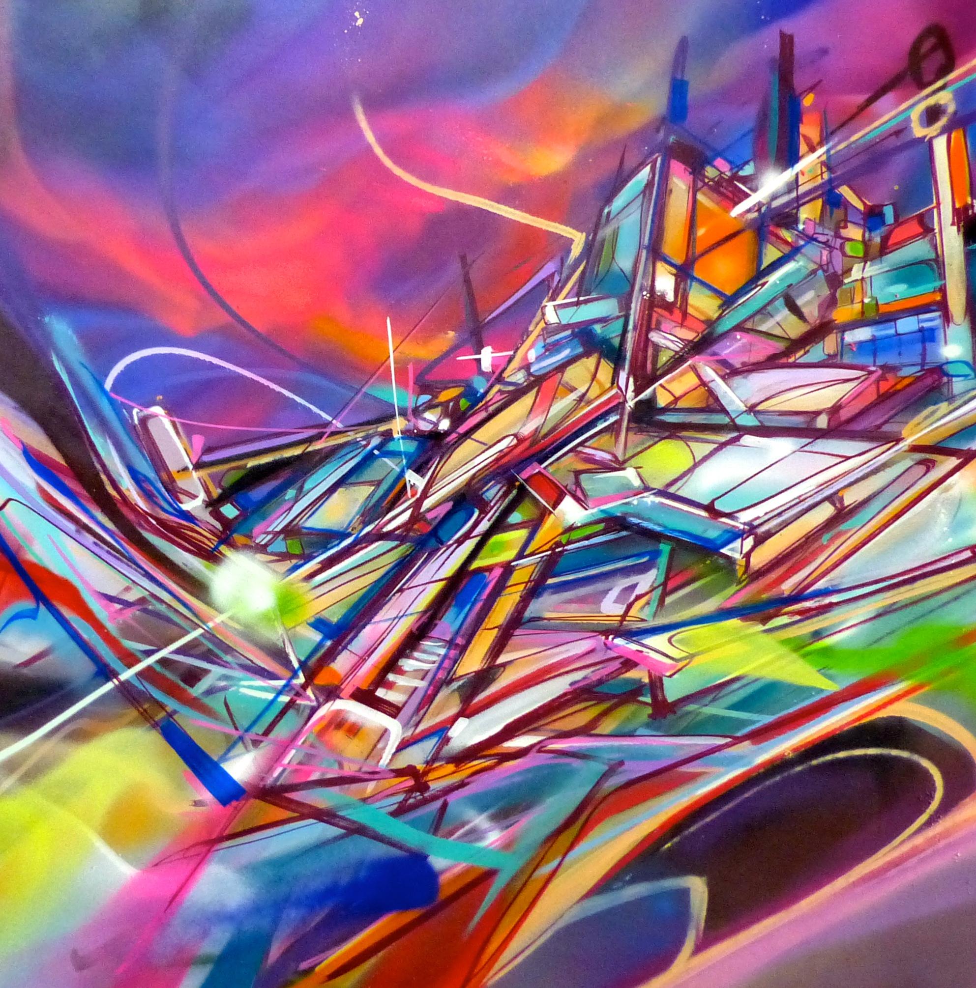 Tableau Architecture Constructiviste Post Graffiti Nadib Bandi Art Peinture