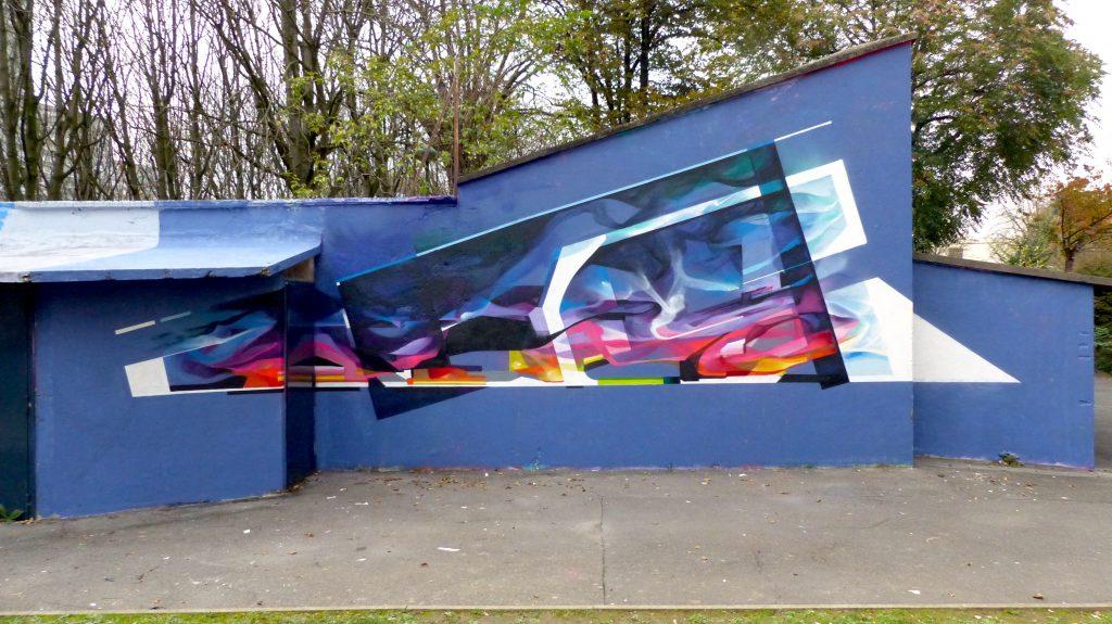 Graffiti abstrait futuriste Bandi Tacos Vitry