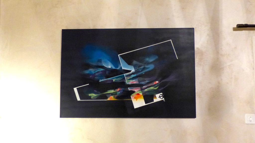 Nadib Bandi Peinture abstraite contemporaine accrochée.