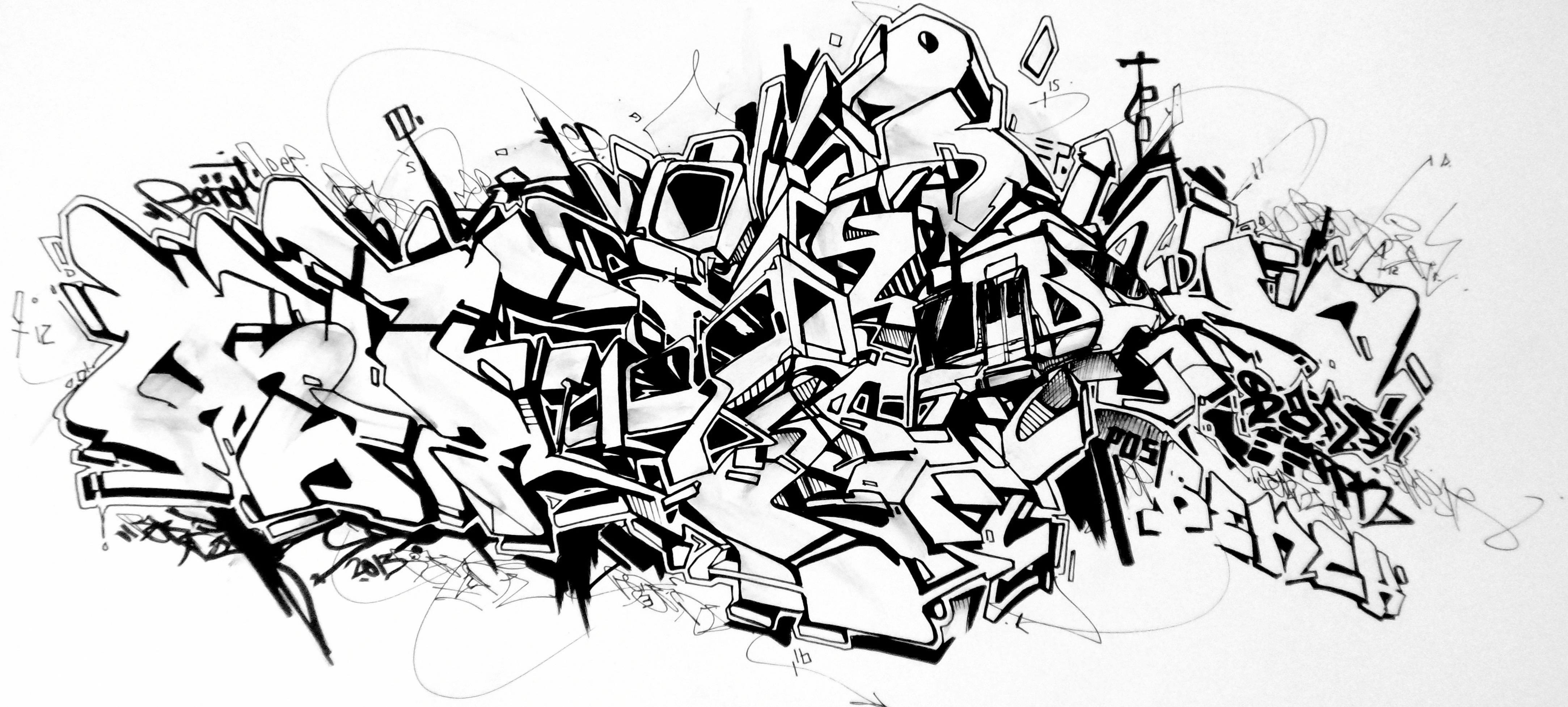 abstract graffiti sketch - Dessin Graffiti