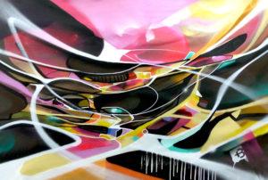 Tableau abstrait post graffiti Nadib Bandi