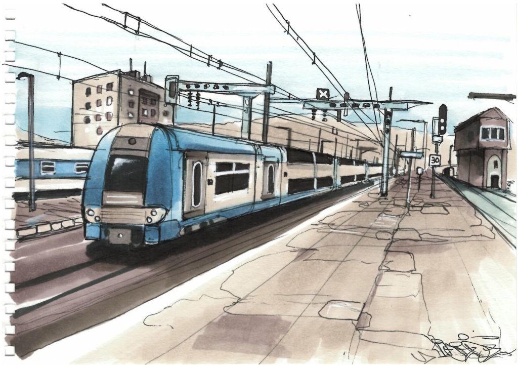 Dessin de la gare d'Ambérieu-en-Bugey