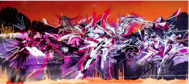 Collaboration graffiti abstrait à genève.
