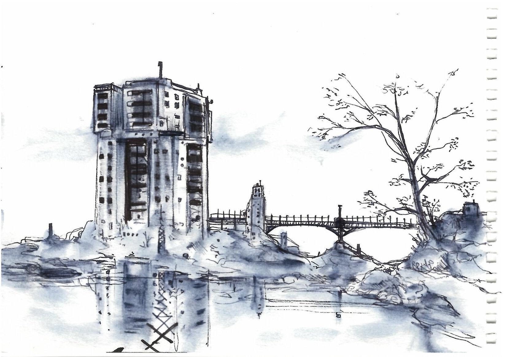 Dessin d 39 architecture grand ensemble nadib bandi dessin for Dessin architecture