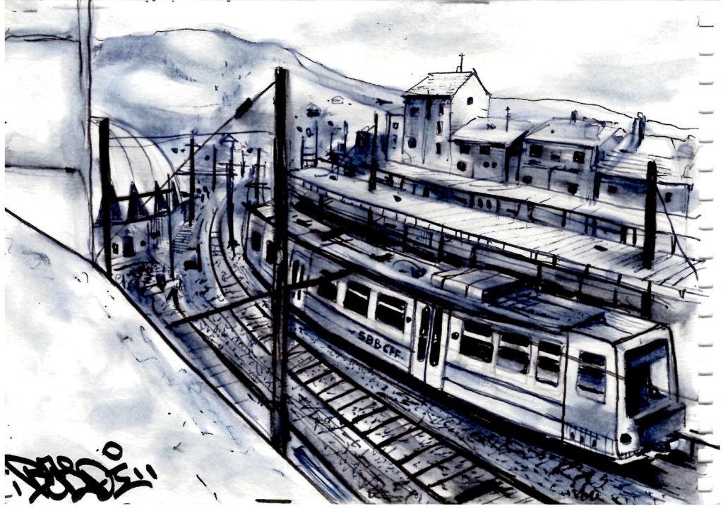 Dessin de la gare de Bellegarde-sur-Valserine
