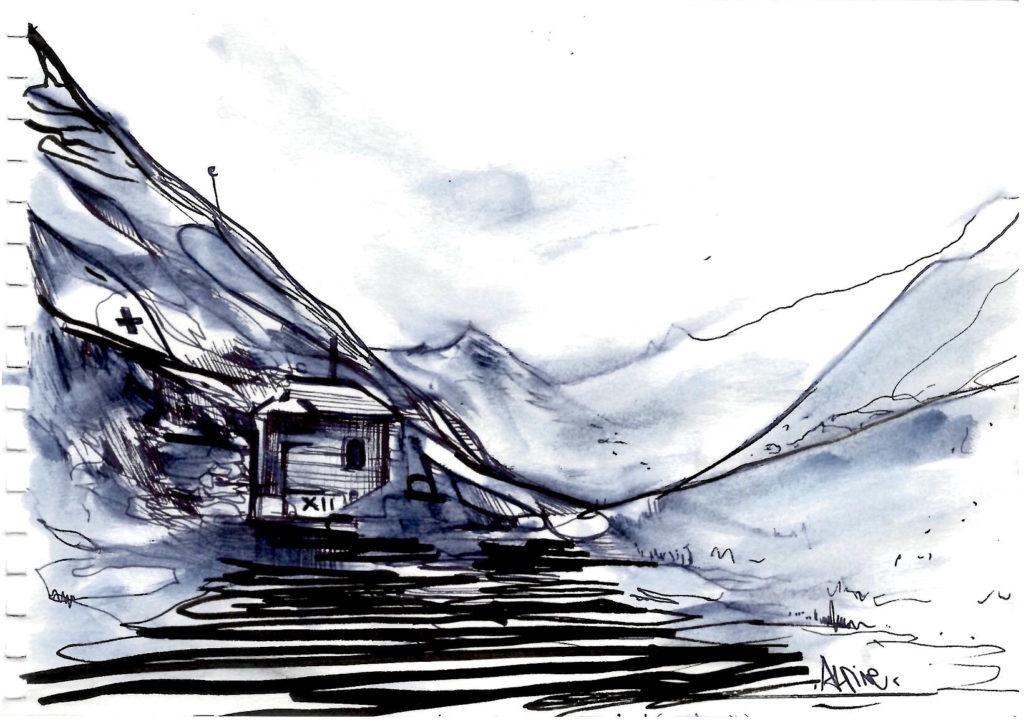 Dessin de paysage alpin