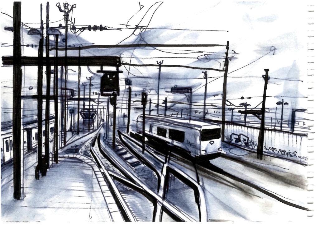 Dessin ferroviaire la fin du Quai