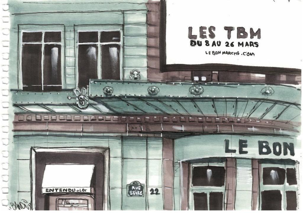 Dessin entrée du Bon Marché à Paris