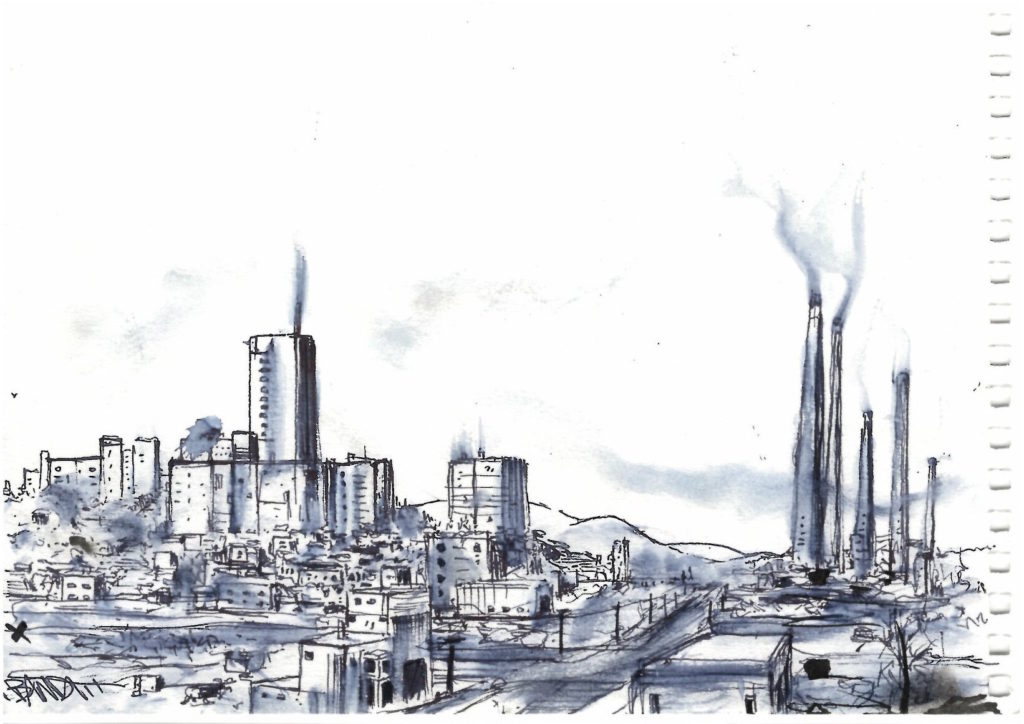 Dessin de ville industrielle