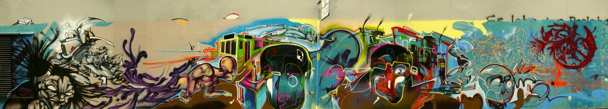 fresque murale horizontale gen ve nadib bandi graffiti mural. Black Bedroom Furniture Sets. Home Design Ideas