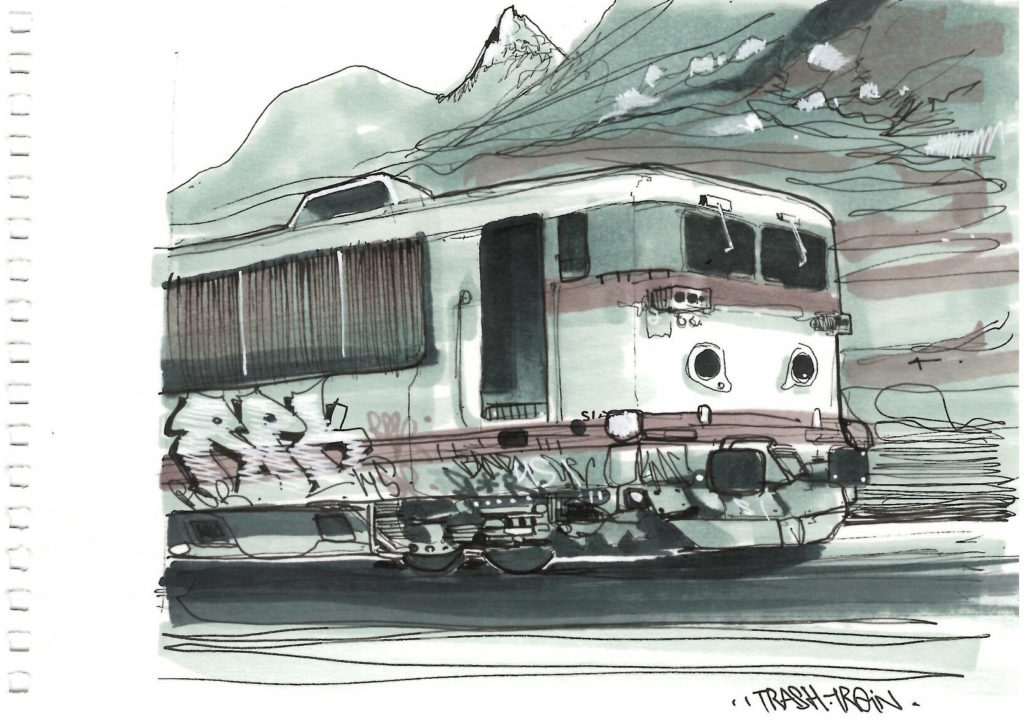 Trash train drawing